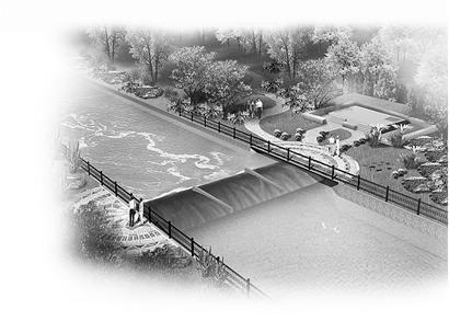 玉符河与220国道交界处橡胶坝效果图