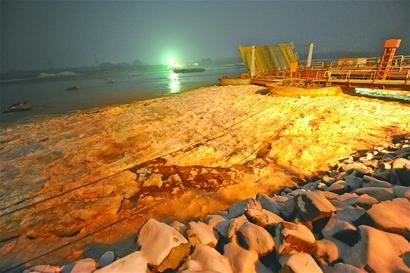 黄河淌凌 浮桥让路