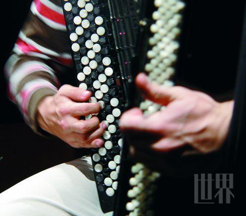 巴扬手风琴紧密排列的键钮使得右手五个手指能在两个八度范围内轻松演奏