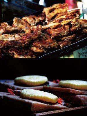 草原美食烤肉和奶酪。