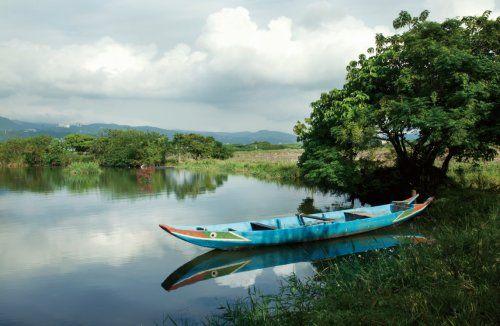 湿地水塘上漂着一叶扁舟,为赏鸟增添闲适的浪漫风情。
