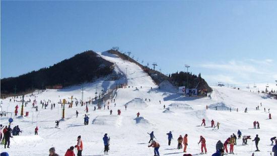 金山滑雪场游客众多。
