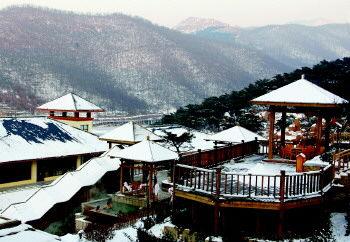游客在泰山温泉城享受雪地温泉 夏丽苗 摄