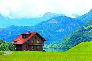 从琉森到茵特拉根,一路尽是田园风光。