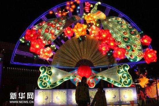 """2月18日,人们在山东省烟台市文化中心广场观看""""孔雀开屏""""花灯。(申吉忠 摄)"""