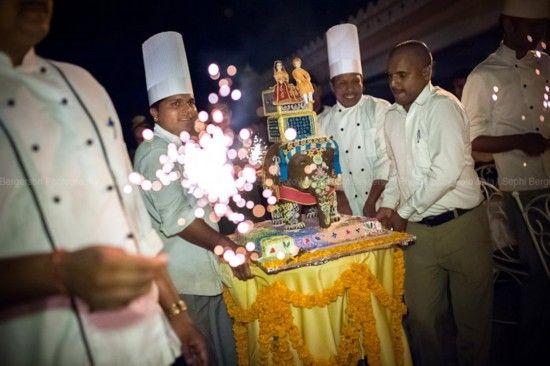 印度乌代布尔西式婚礼上的大象形大蛋糕。