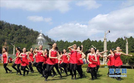2月27日,台湾青年学生在活动中表演《迎接熏衣草》舞曲。新华社发