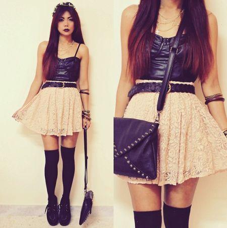 米色蕾丝半身裙