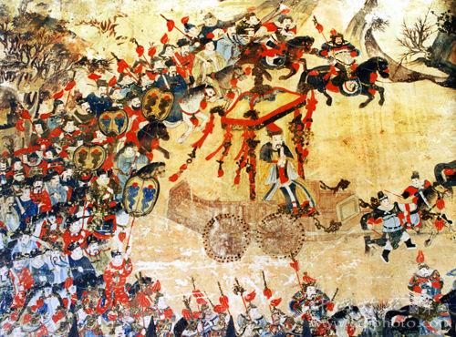 泰山岱庙内的壁画,描绘帝王封禅的场面(刘水摄)