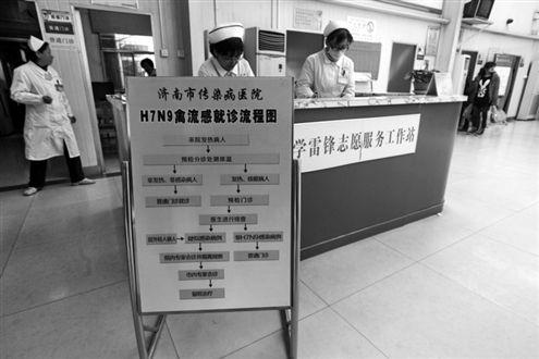 在济南传染病医院,门诊大厅内摆放着H7N9禽流感就诊流程图 记者 王晓峰 摄
