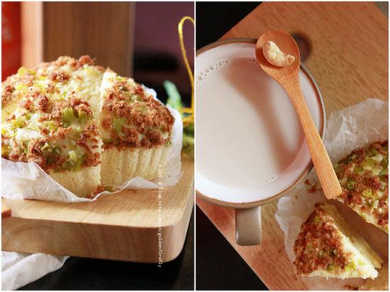 香葱肉松蒸糕配果仁豆浆