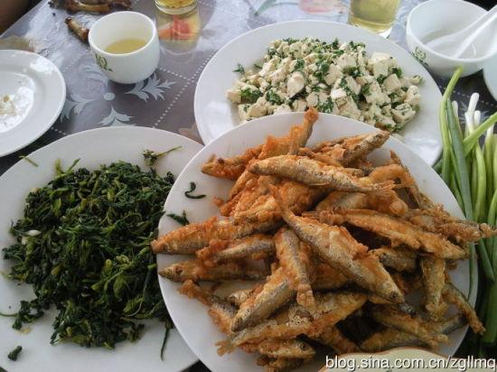 山东拌野菜、炸小河鱼