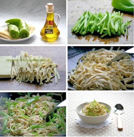 尖椒炒豆腐皮丝