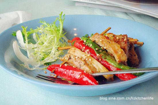 黑椒时蔬蜜肉串儿