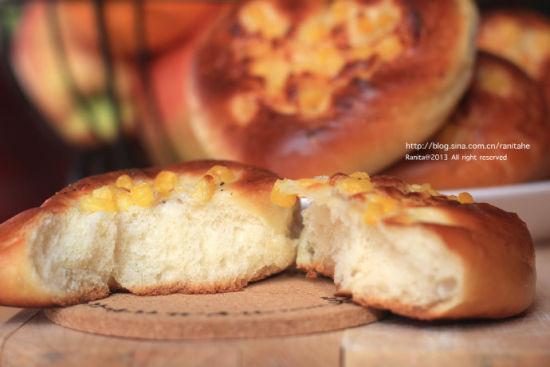 玉米奶酪心型面包