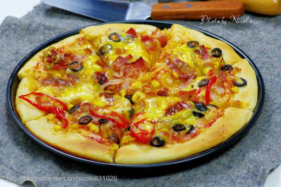 黑橄榄培根匹萨