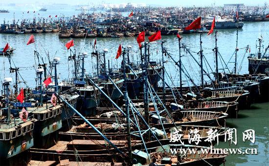 威海休渔首日七千渔船回港海鲜上岸被抢购_山
