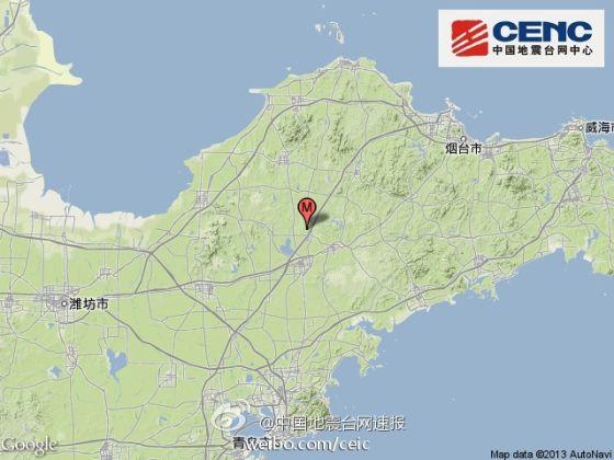 山东省烟台市莱阳市、青岛市莱西市交界(北纬37.0度,东经120.6度)发生2.5级地震