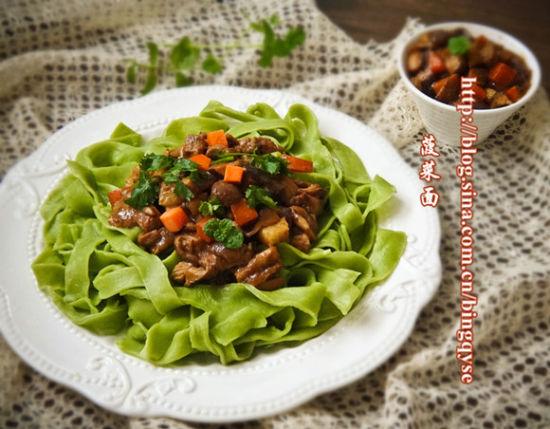 菠菜面&香菇肉酱