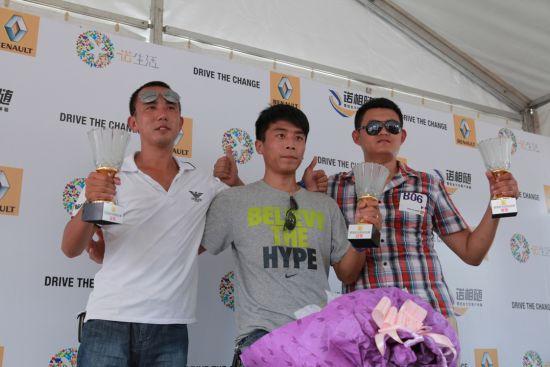 新风朗挑战赛济南站前三名选手:亚军杨恩东,冠军马庆朋,季军邵明阳(从左至右)