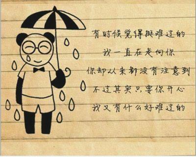 女生的手绘图,以一只戴眼镜的小熊猫手持不同物品