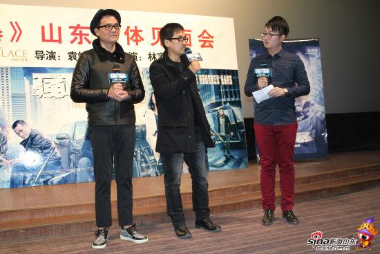 林家栋和袁锦麟在媒体见面会现场畅聊电影《风暴》