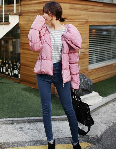 糖果色棉衣 冬装粉嫩小清新美搭