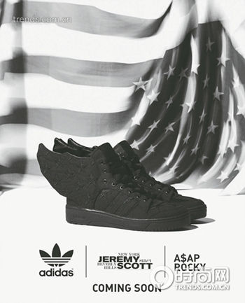 "adidas Originals× Jeremy Scott ×A$AP Rocky ""JS WINGS 2.0 BLACK FLAG""限量翅膀鞋"