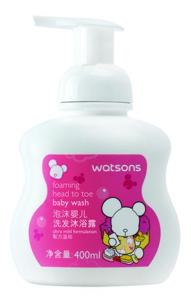 屈臣氏大小耳熊泡沫婴儿洗发沐浴露400ml ¥25元/件 (屈臣氏天猫商城有售)