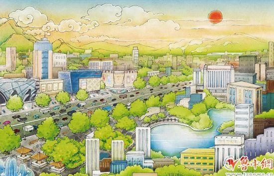 淄博鸟瞰手绘图(图 王文哲 文 记者 张楠)-文化名城把客留住 济青高