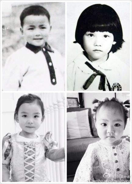 一家四口童年照(张晋、蔡少芬与两个可爱女儿)