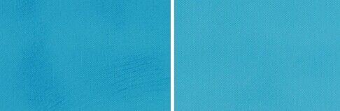 左:只使用面霜后面部残留油迹 右:使用柔肤水后面部自然清爽