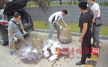 民警从毒贩车厢里搜出装在荔枝筐内的冰毒。警方供片