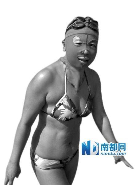 中国大妈防晒头套