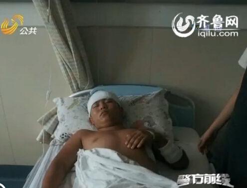 伤者左边额头部、腰部、肩部、胳膊多处被刀划伤