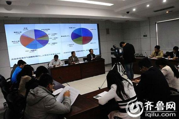 30日上午,济南市环境空气细颗粒物(PM2.5)来源解析结果公布,济南市成为省内第一个公布源解析的城市。(齐鲁网记者 李淼 摄)