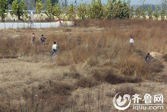 由于学校没有操场,也没有什么娱乐设施,荒草地成为孩子们的乐园。(齐鲁网记者 张伟 摄)