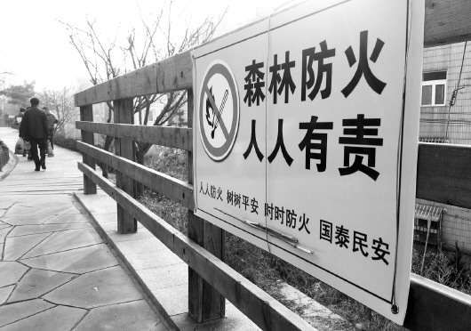 在山东青岛市南区田家村东山,多条山路上悬挂警示牌,提醒上山市民不要携带火种,以防发生森林火灾。