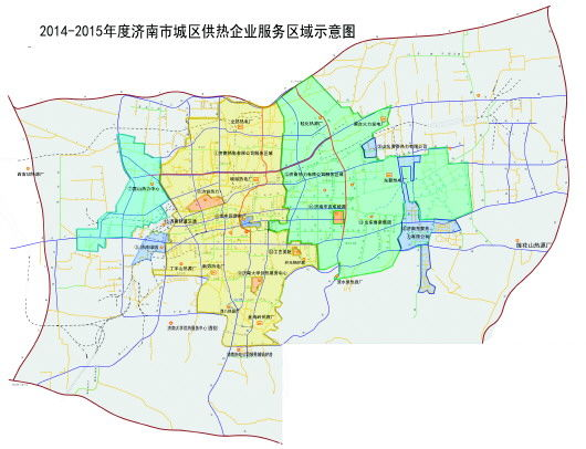 2014-2015年度济南市城区供热企业服务区域示意图