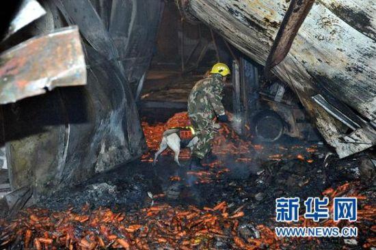 11月17日凌晨,救援人员在山东寿光一食品厂火灾现场搜救。11月16日晚19时,山东省寿光市龙源食品有限公司一胡萝卜包装车间发生火灾。事故造成18人死亡,13人受伤正在救治中。  新华社发