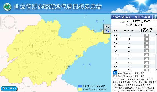 """山东省环保厅发布的相关数据显示,11月22日,17市均未呈现""""蓝天白云、繁星闪烁""""。"""