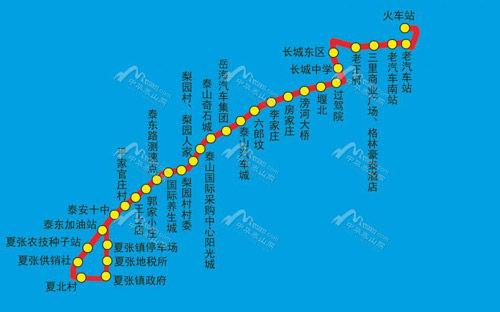 泰安泰山火车站至夏张镇50路公交开通 票价2元