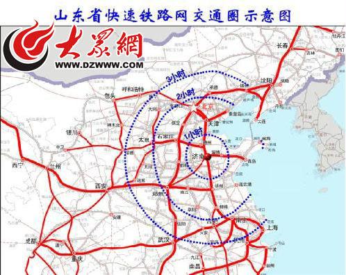 山东快速铁路网示意图