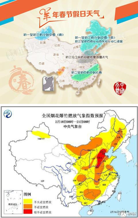 #春节168小时#:春节假期天气预报