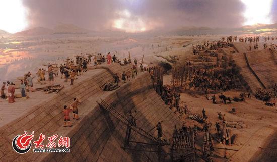 """""""运河之心""""东平湖戴村坝修建示意图"""