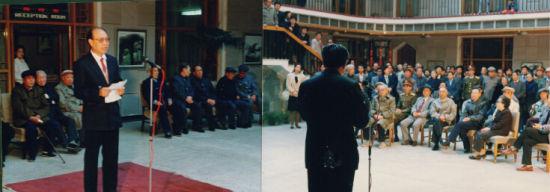 1990年画展开幕式(右宋存胜专员致词。左赵紫林致答谢词)