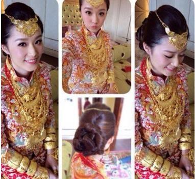 新娘穿金戴银