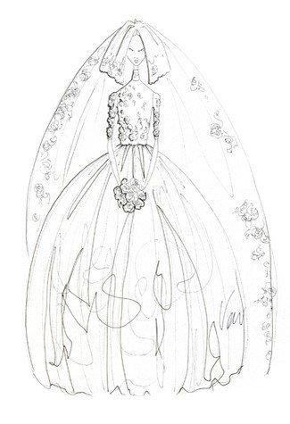拖尾婚纱效果图手绘图片