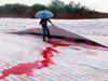 河水污染呈血红色